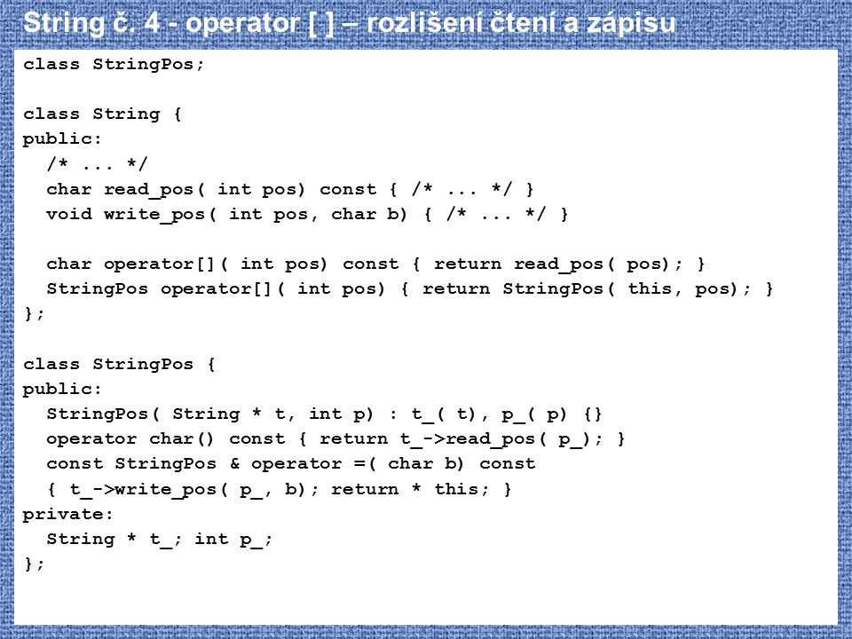 String č. 4 - operator [ ] – rozlišení čtení a zápisu